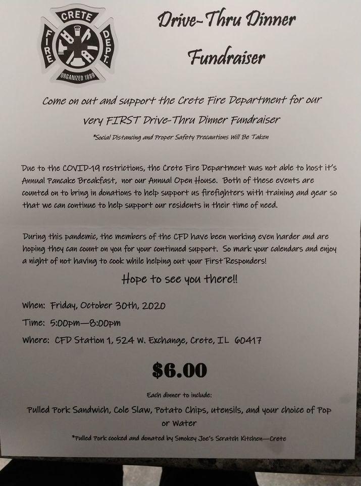 Crete Fire Department Drive-Thru Dinner Fundraiser